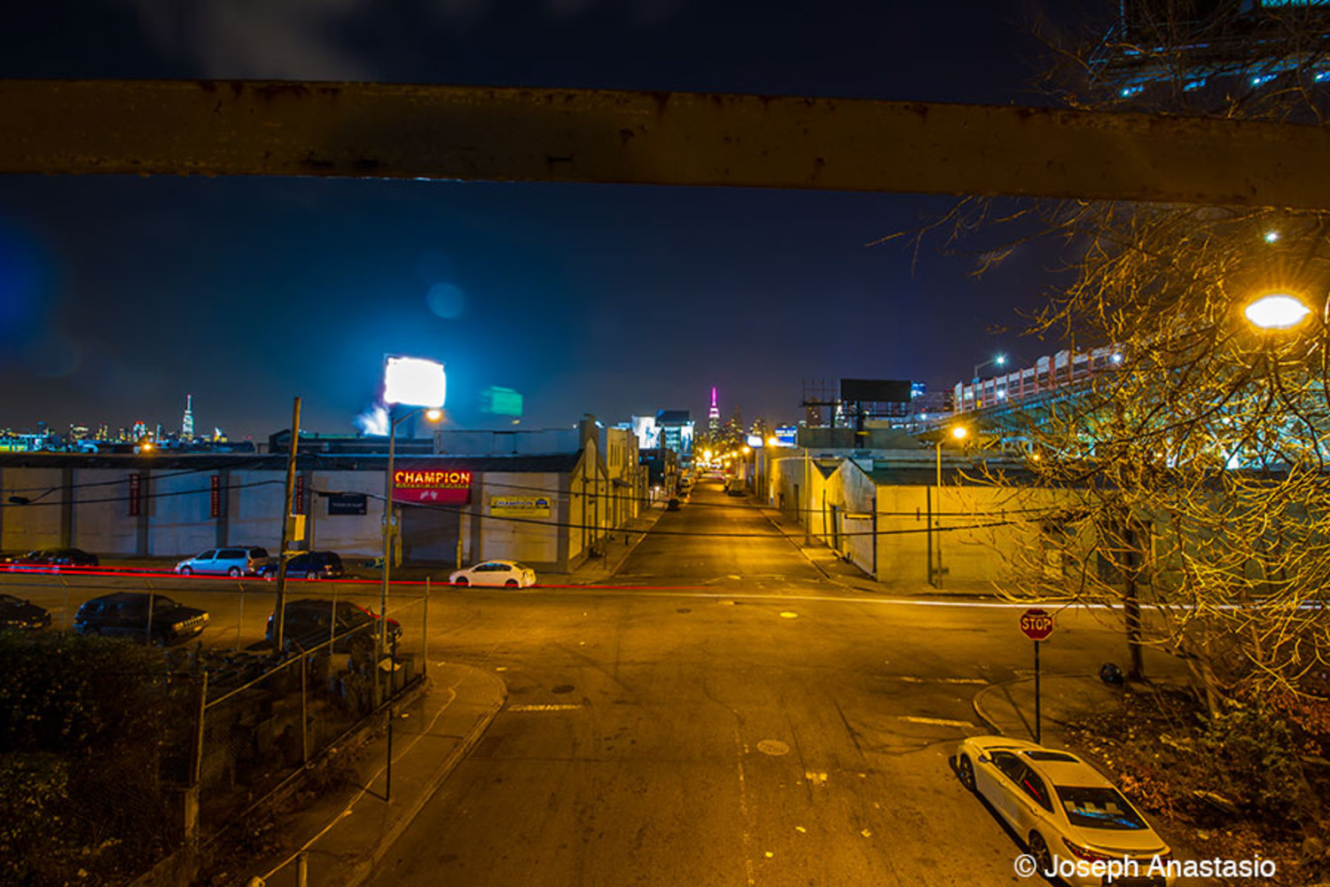 51nd avenue overpass – complete with disgusting light pollution from Fresh Direct's obnoxious billboard