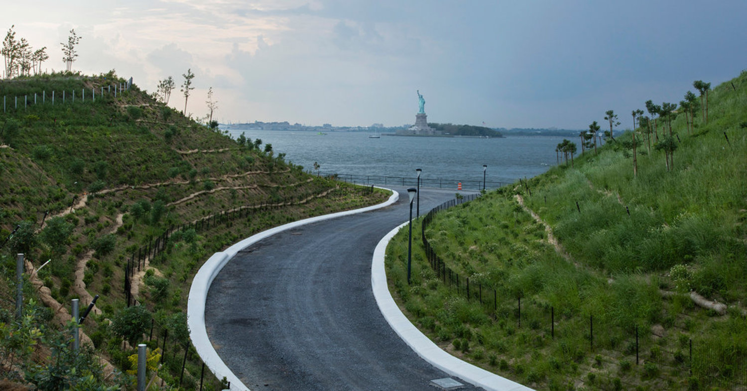 A sprawling new park brings a bit of wonder — and unparalleled views of Manhattan and Brooklyn — to Governors Island. Here, two of the island's new hills, the highest of which is 70 feet above sea level.