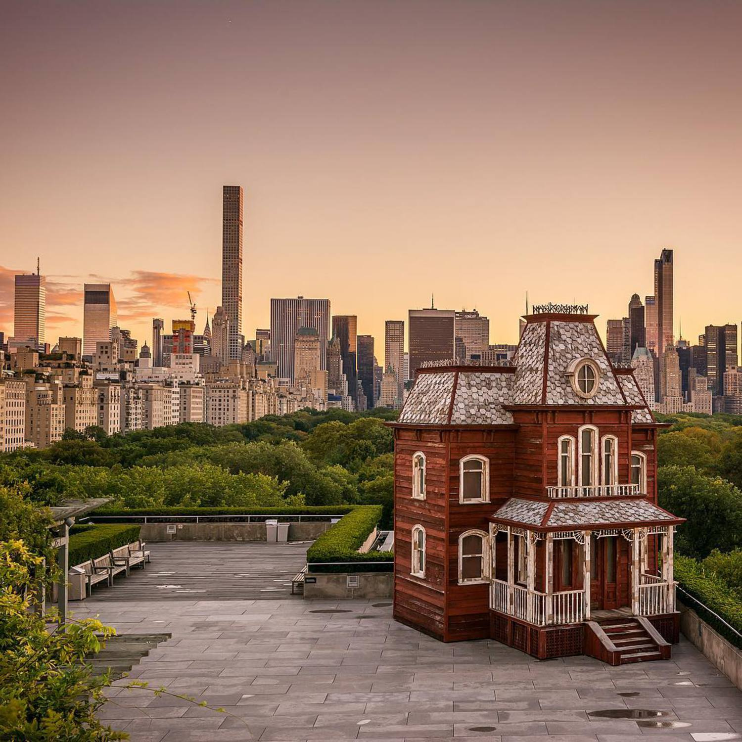 """Cornelia Parker - Transitional Object (PsychoBarn) at The Roof Garden of the Met - The exhibit features a large-scale sculpture by acclaimed British artist Cornelia Parker, inspired by the paintings of Edward Hopper and by two emblems of American architecture—the classic red barn and the Bates family's sinister mansion from Alfred Hitchcock's 1960 film """"Psycho."""" On display until Halloween day ✰ #NYC #NY #newyorkcity #newyork #new_york #manhattan #wildnewyork #EmpireStateOfMind #topnewyorkphoto #thisisnewyorkcity #nycprimeshot #made_in_ny #ig_nycity #igersofnyc #gf_nyc #icapture_nyc #instagramnyc #ILoveNY #newyorker #newyorknewyork #igersusa #newyork_instagram#supremenewyork #ig_northamerica #ig_unitedstates #seeyourcity #met #ic_architecture #rsa_streetview #buildingstyles_gf"""