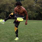 Ivan White, of Woodside, Queens, jams with a frisbee in Central Park's Sheep Meadow on Thursday.