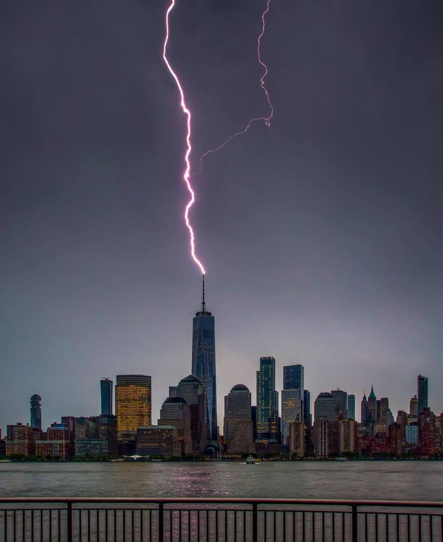 Lightning strikes One World Trade Center, New York, New York