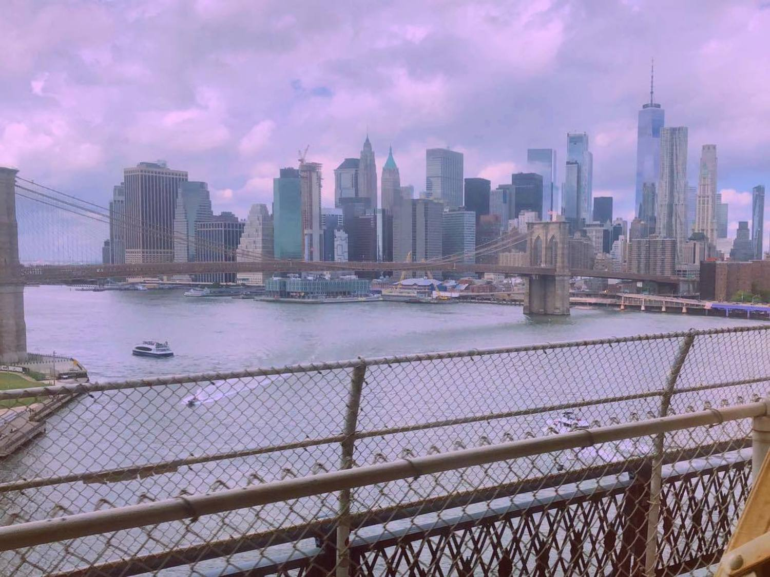 View of Lower Manhattan from Q Train over Manhattan Bridge