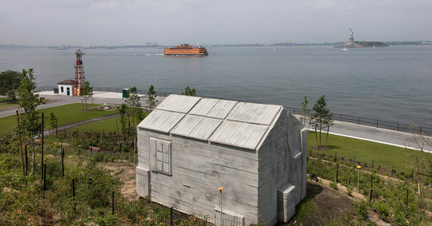 "The artist Rachel Whiteread's public sculpture ""Cabin"" is a permanent installation on one of the island's new hills."