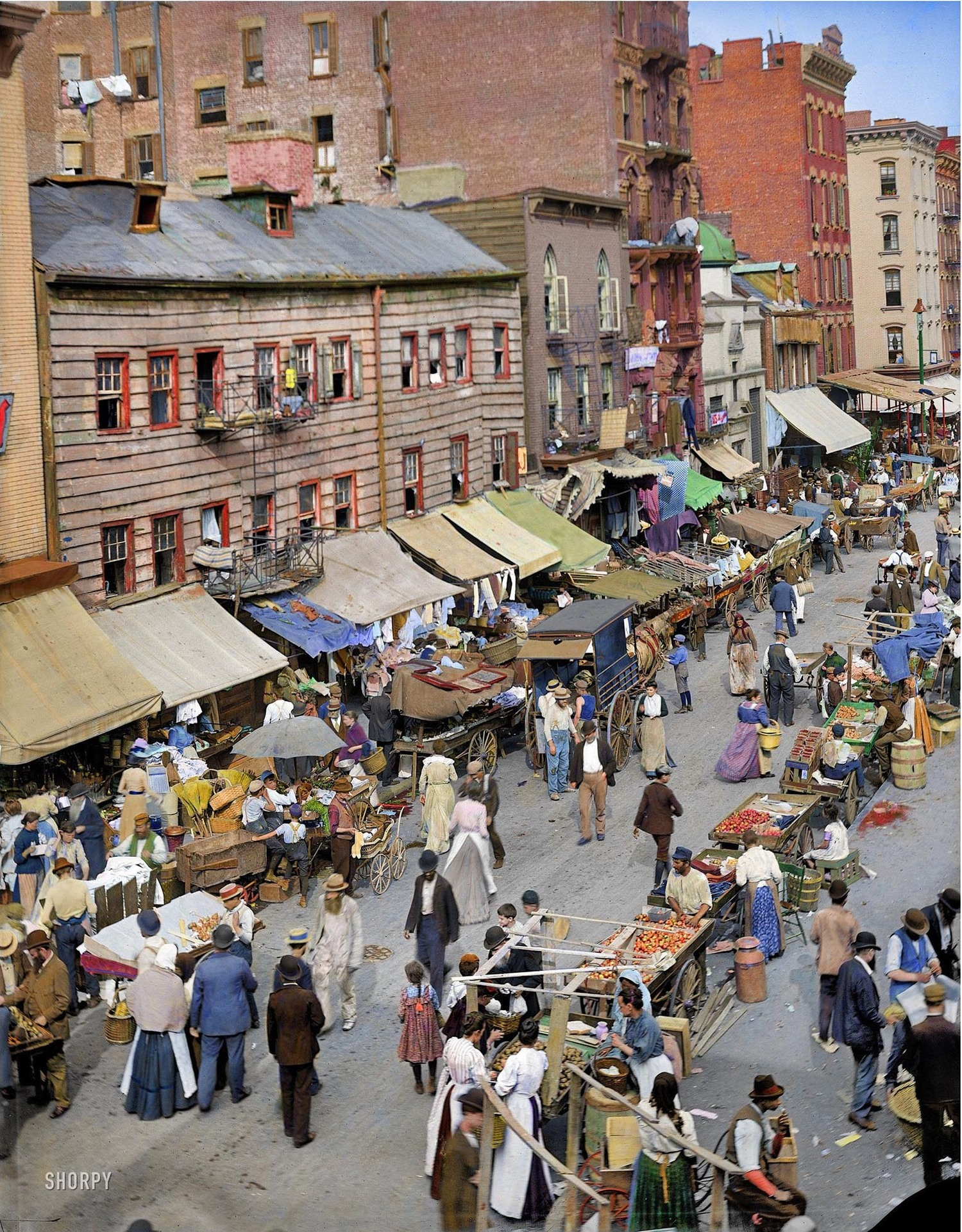 The Jewish Market (Colorized) ca. 1895