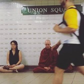 Meditating at Union Square Subway Station
