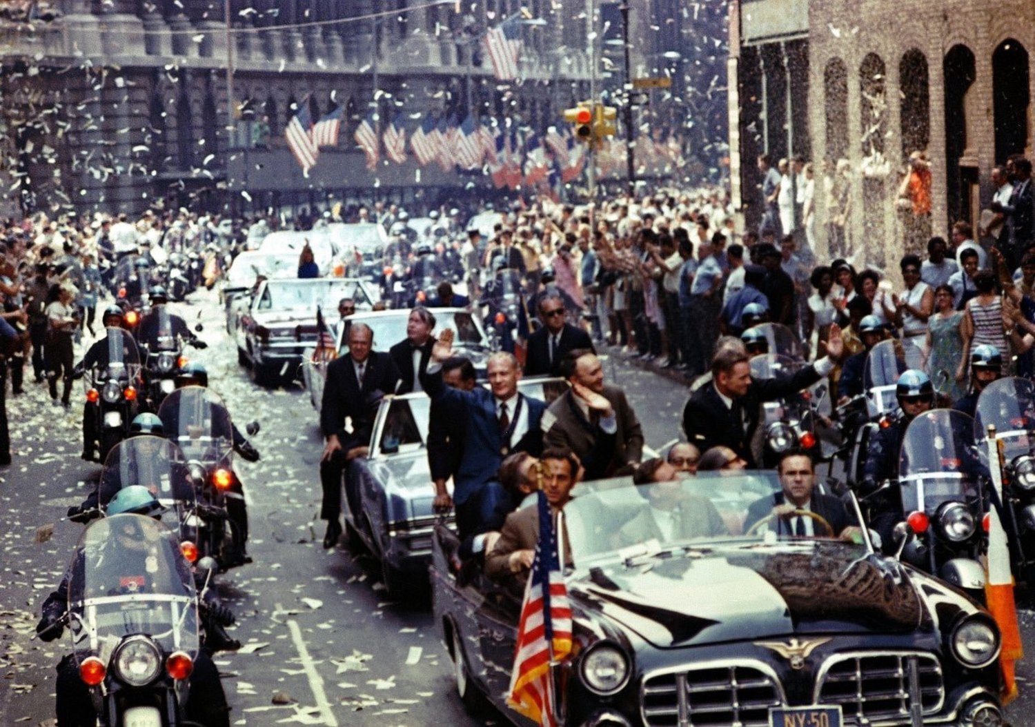 47 years ago today Neil, Mike and I took a leisurely ride through NYC to celebrate with a few friends. #Apollo11 https://t.co/9JtT9WPt8g