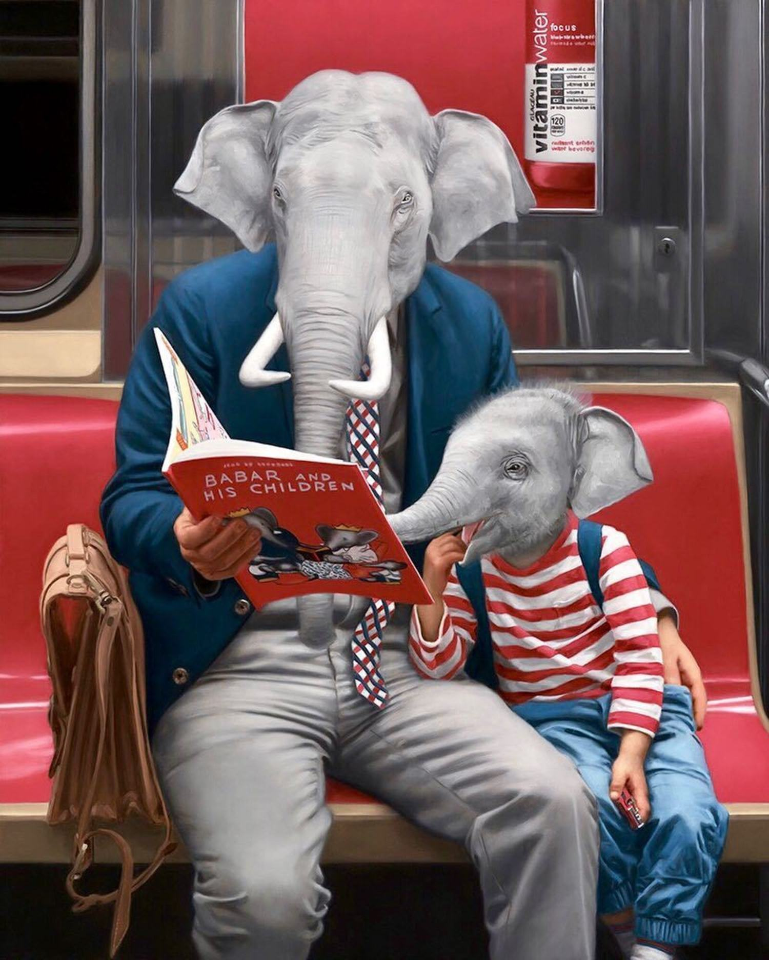 This is the second of two father and son pieces I painted for my last solo show. I loved the Babar books when I was a kid and painting this really brought me back to my childhood when my parents read to me all the time. I'm finishing up several new father/son paintings for my show coming up in New York at @spoke_art. 'LAX / JFK' is being curated by the folks at @thinkspace_art and opens on November 11th from 6-10 PM. Save the date! 🐘📕 Prints of this painting available at grabelsky.etsy.com