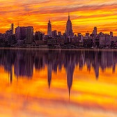 Midtown Manhattan Skyline During Sunset from Across the Hudson River