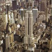 Aerial view of the 102-story Empire State Building and its surrounding area in the Fall of 1972.
