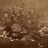 The first aerial photo of New York City, taken by photographer James A. Hart in 1906 from a hot air balloon