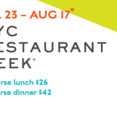 NYC Restaurant Week, Summer 2018, July 23 - Aug 17