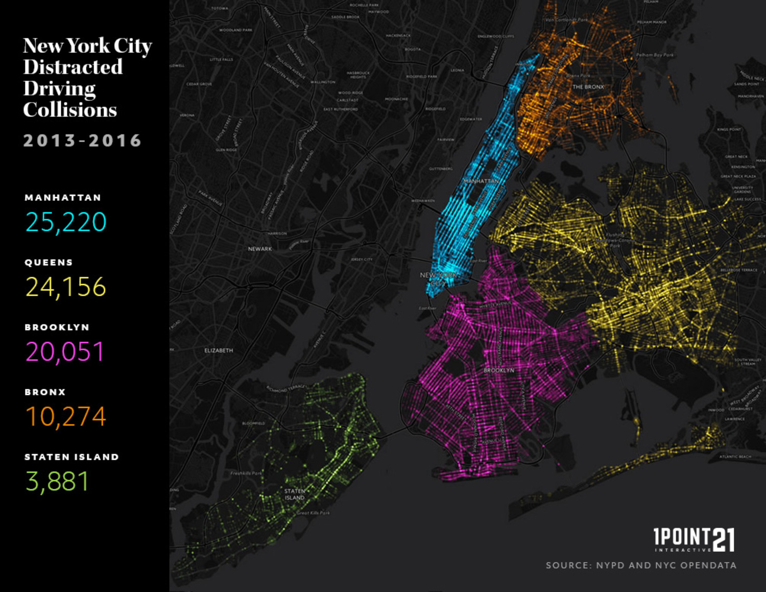 Heres A Scary Map Of All Distracted Driving Collisions In New - Nyc map interactive