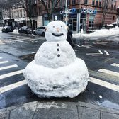 Snowman in Brooklyn, New York.