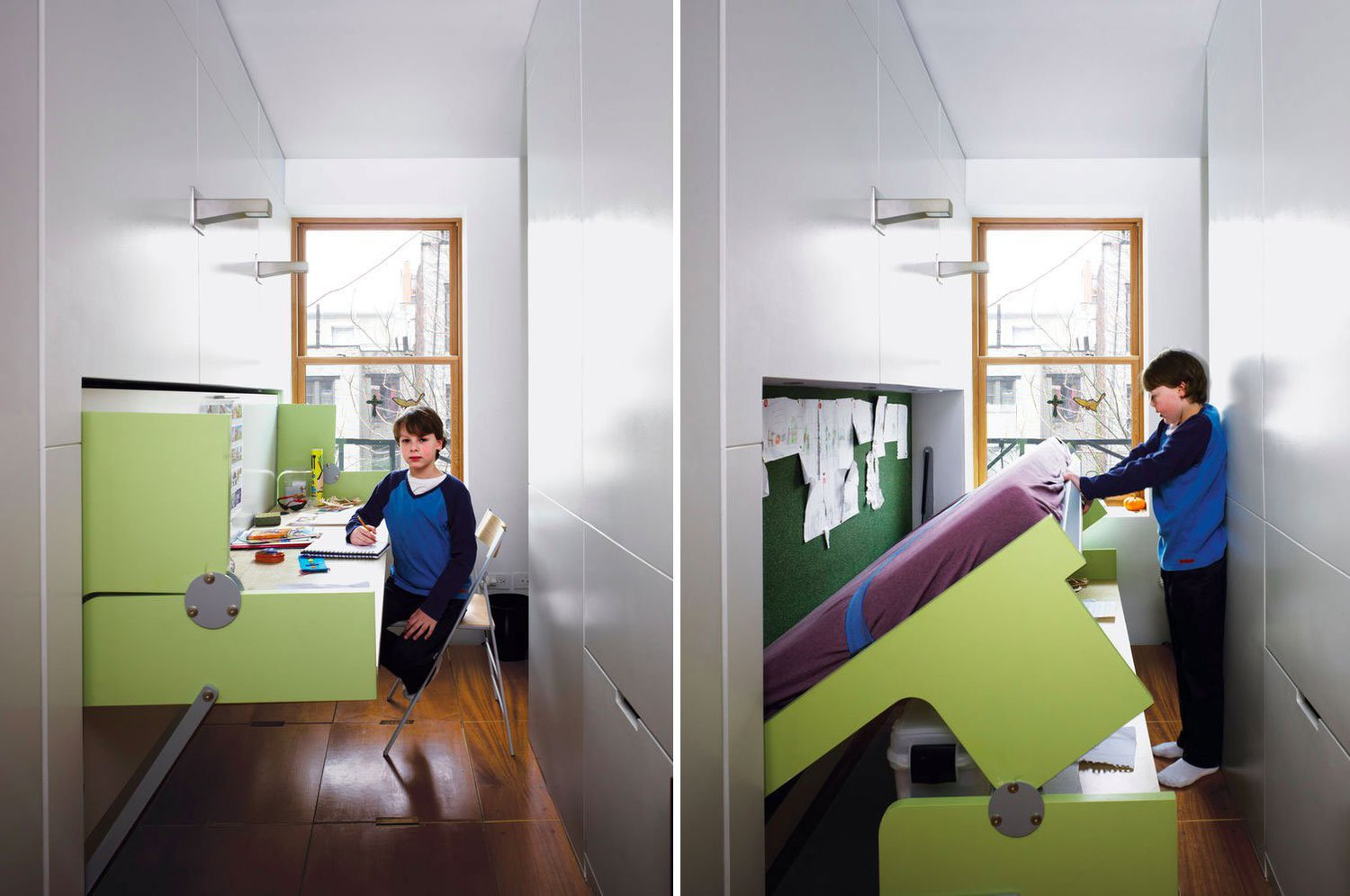 Having a home office in an apartment of this size might seem impossible, but flexible furniture transforms one room into two. All it takes is gentle downward pressure to lower the desk to the floor, bringing the kid-size mattress into position for bedtime.