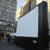 Union Square with inflatable movie screen 9431 | Union Square with inflatable movie screen for a showing of the Wizard of Oz from 1939 - NYC 2015 New York City August evening summer film program downtown Manhattan park parks movies outdoor screening drive in drive-in New York Film
