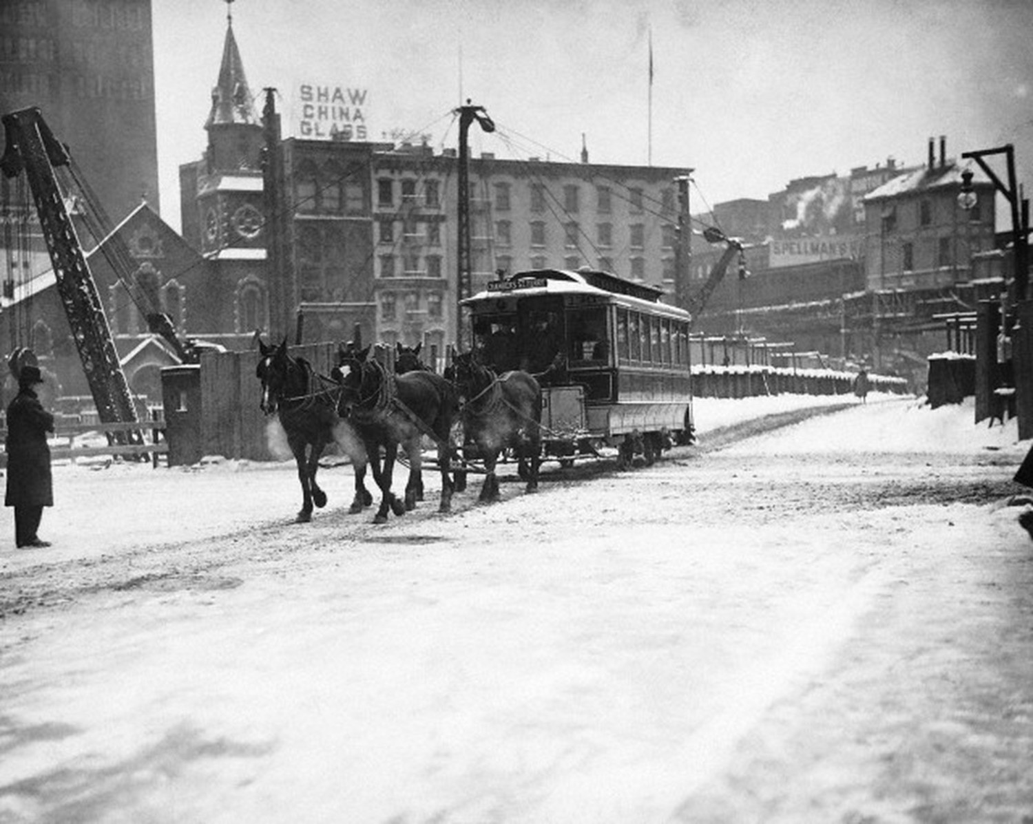 1908 horse drawn trolley trudges through New York's snow covered streets