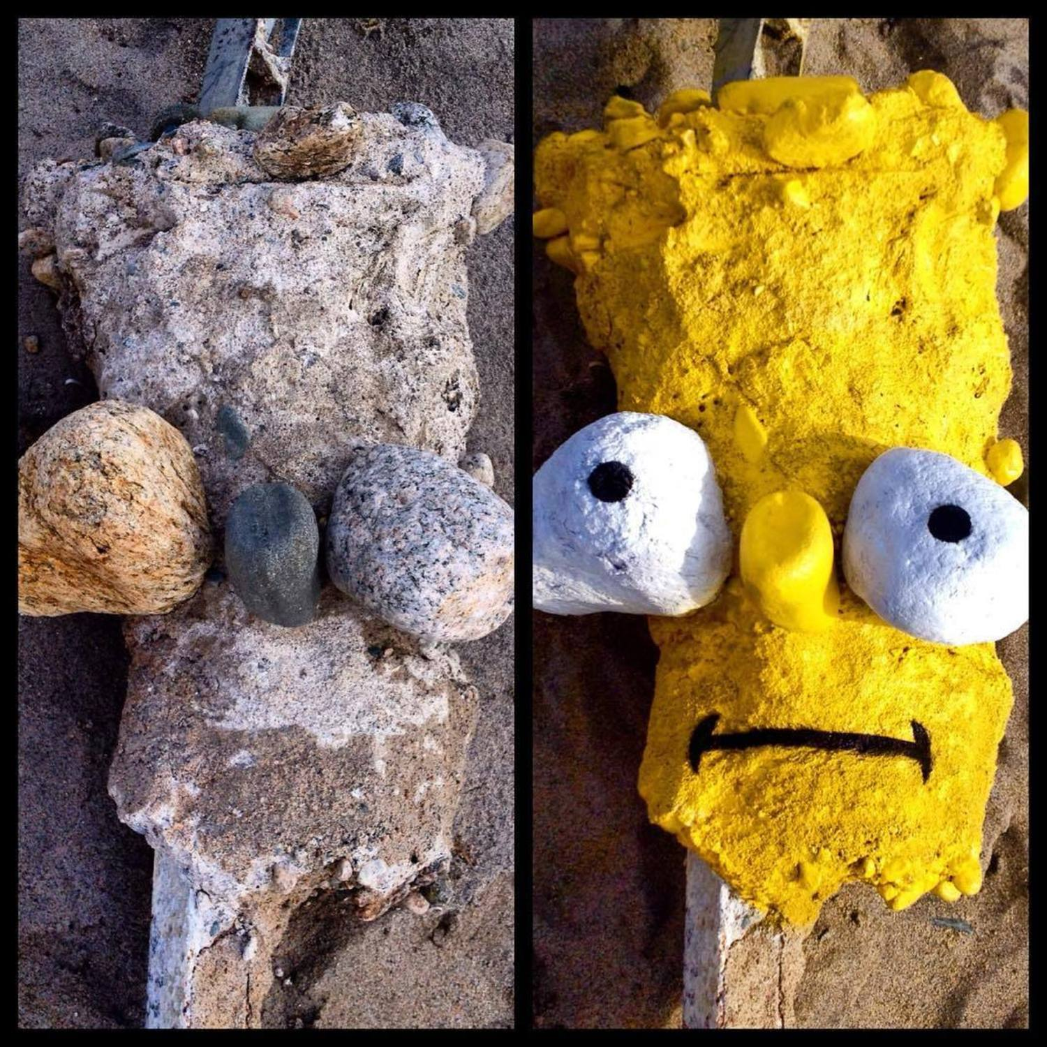 BEFORE & AFTER 👀 Found this street sign end post as is. #bartsimpson #after #streetart #cartoonface #bart #simpson #tombobnyc #stencilart #thesimpsons #👀 #beforeandafter #tombob
