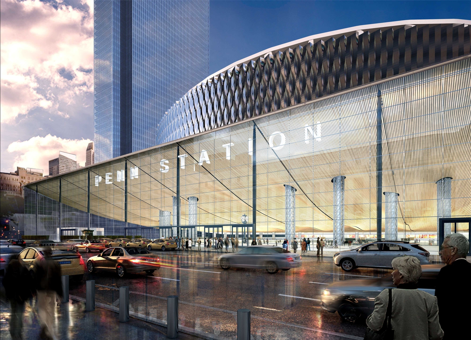 Redeveloped Penn Station Exterior: View from 8th Avenue | A friendly, negotiated condemnation and removal of the MSG Paramount Theater, creating the opportunity to construct an 8th Avenue grand entrance with concourse, retail and commercial space.