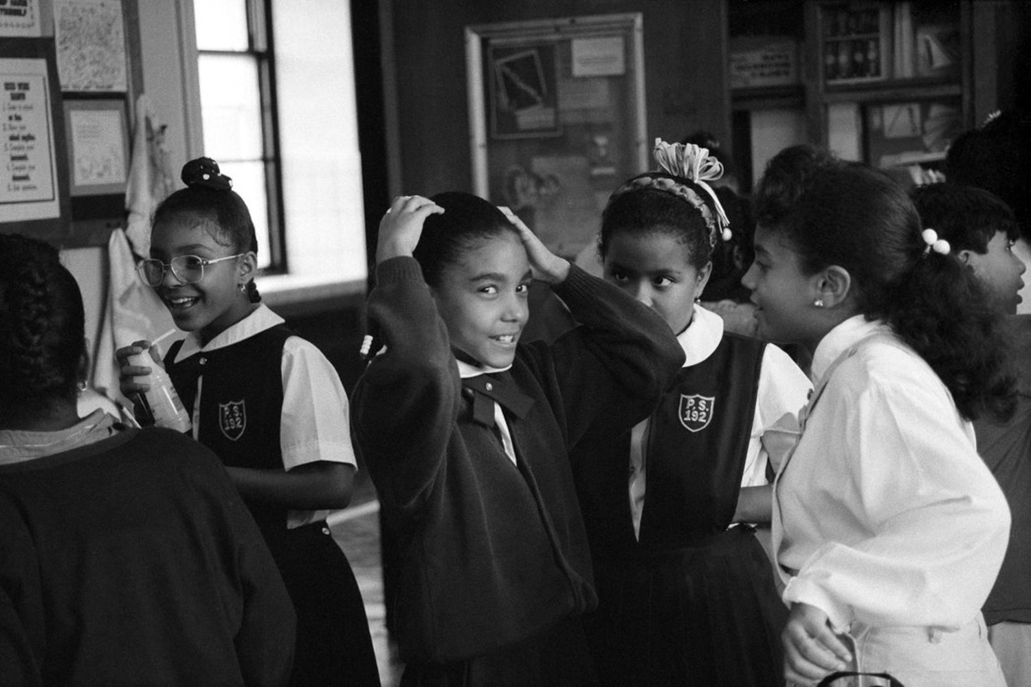 1990s - September 1990: At Public School 192 in Harlem, some students wore uniforms, which were optional.
