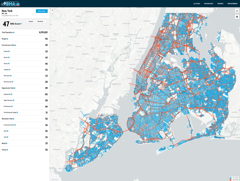 PlacesForBikes Bike Network Analysis (screenshot)