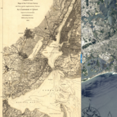 1860 New York City Map vs. 2013 NASA Satellite Photo