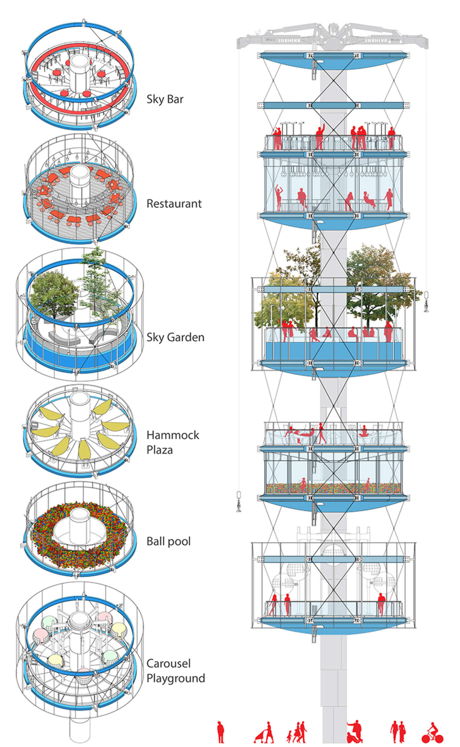 100architects envision their vertical park as both a commercial and public project.
