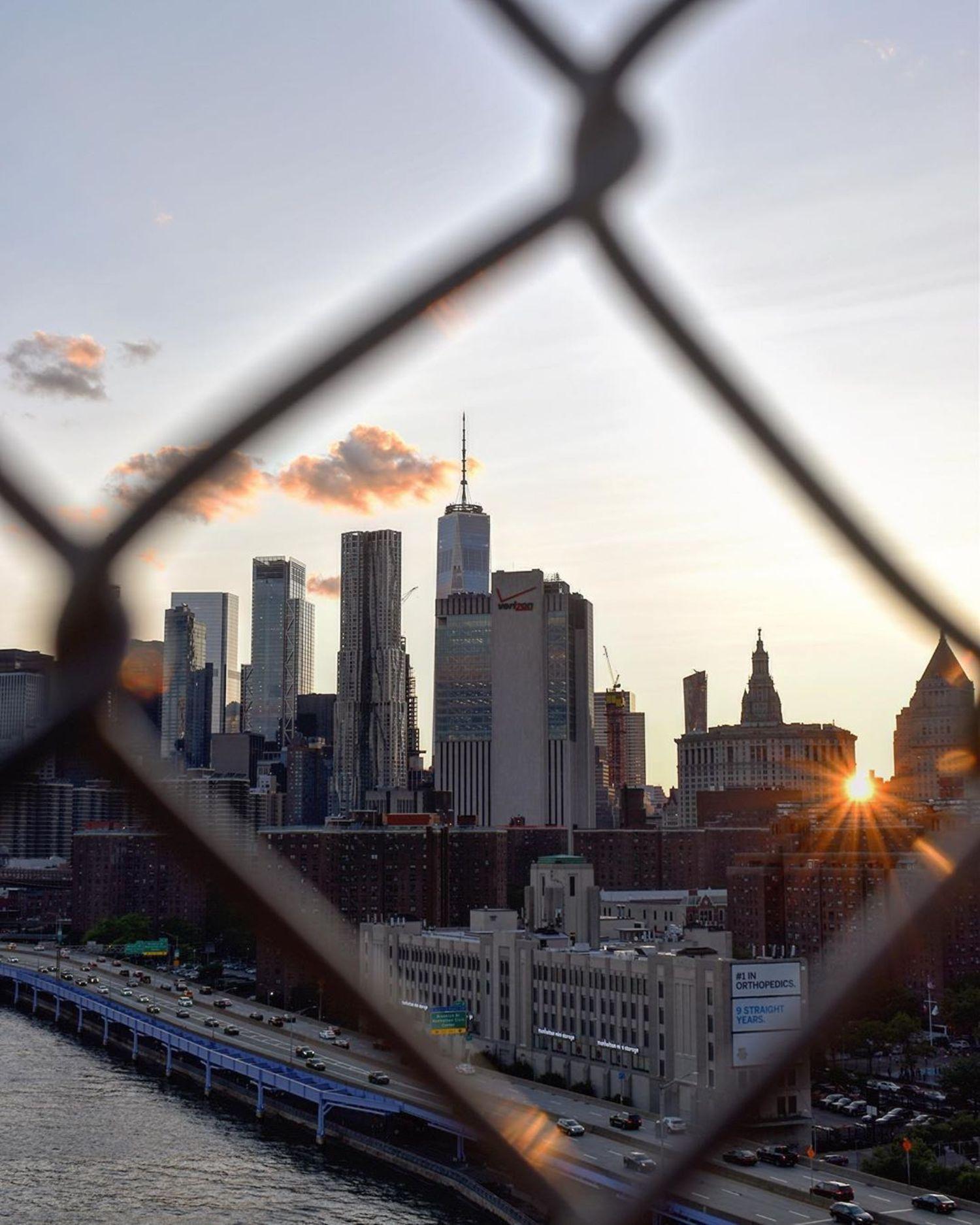 Sunset over Lower Manhattan from Manhattan Bridge