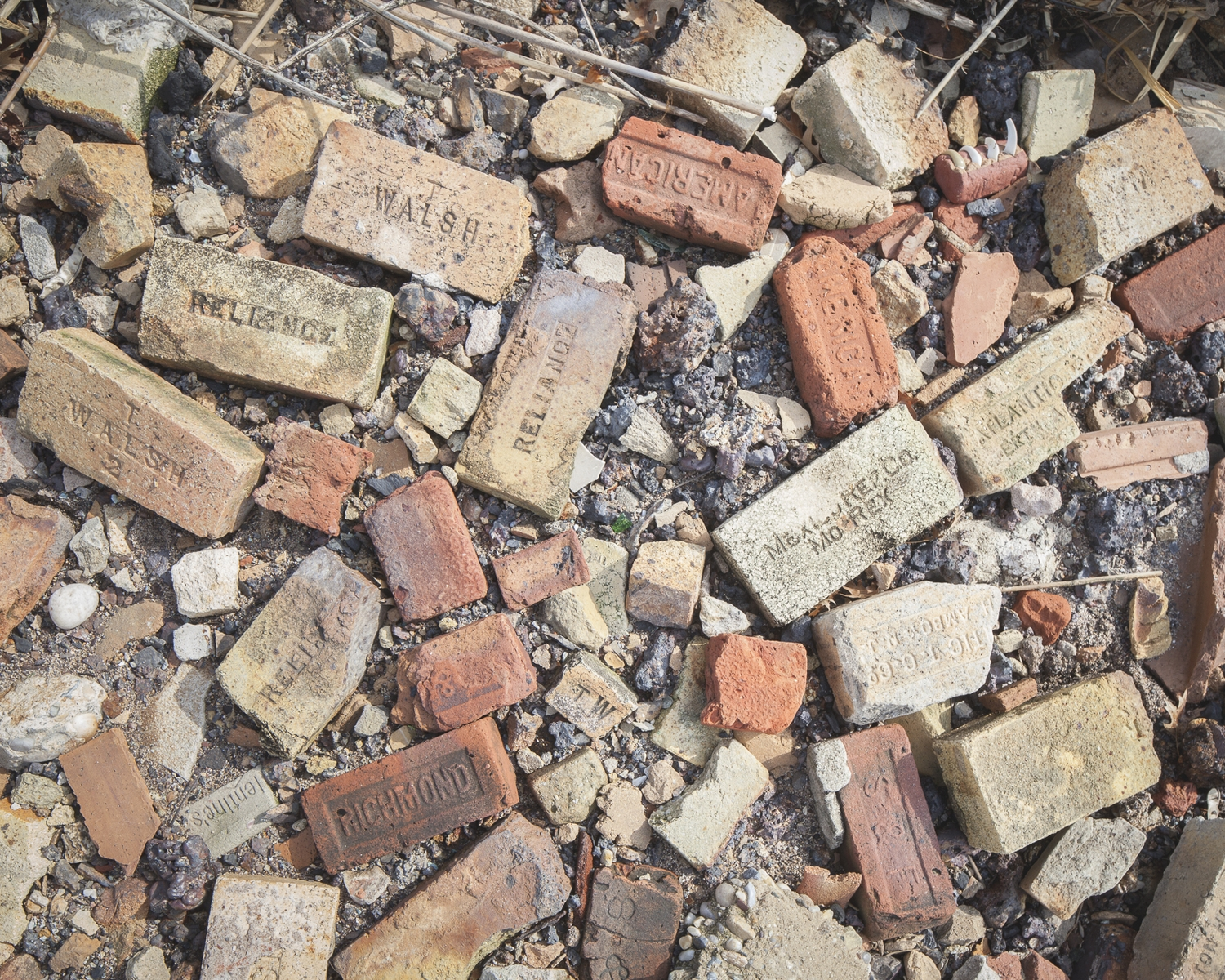 Manufacturer's marks on the bricks point to a wide range of origins.