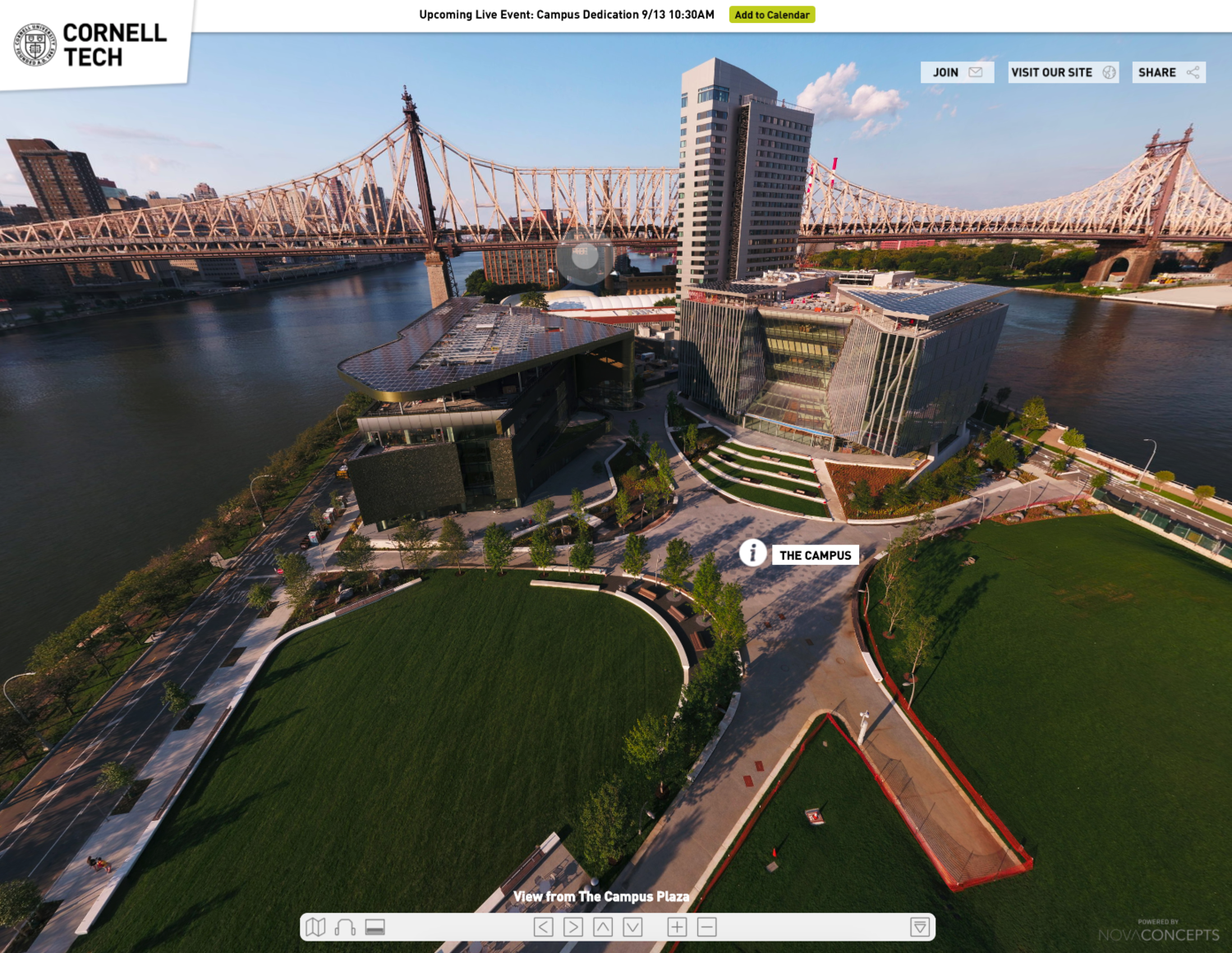 Preview of Cornell Tech's Interactive 360° Aerial Tour