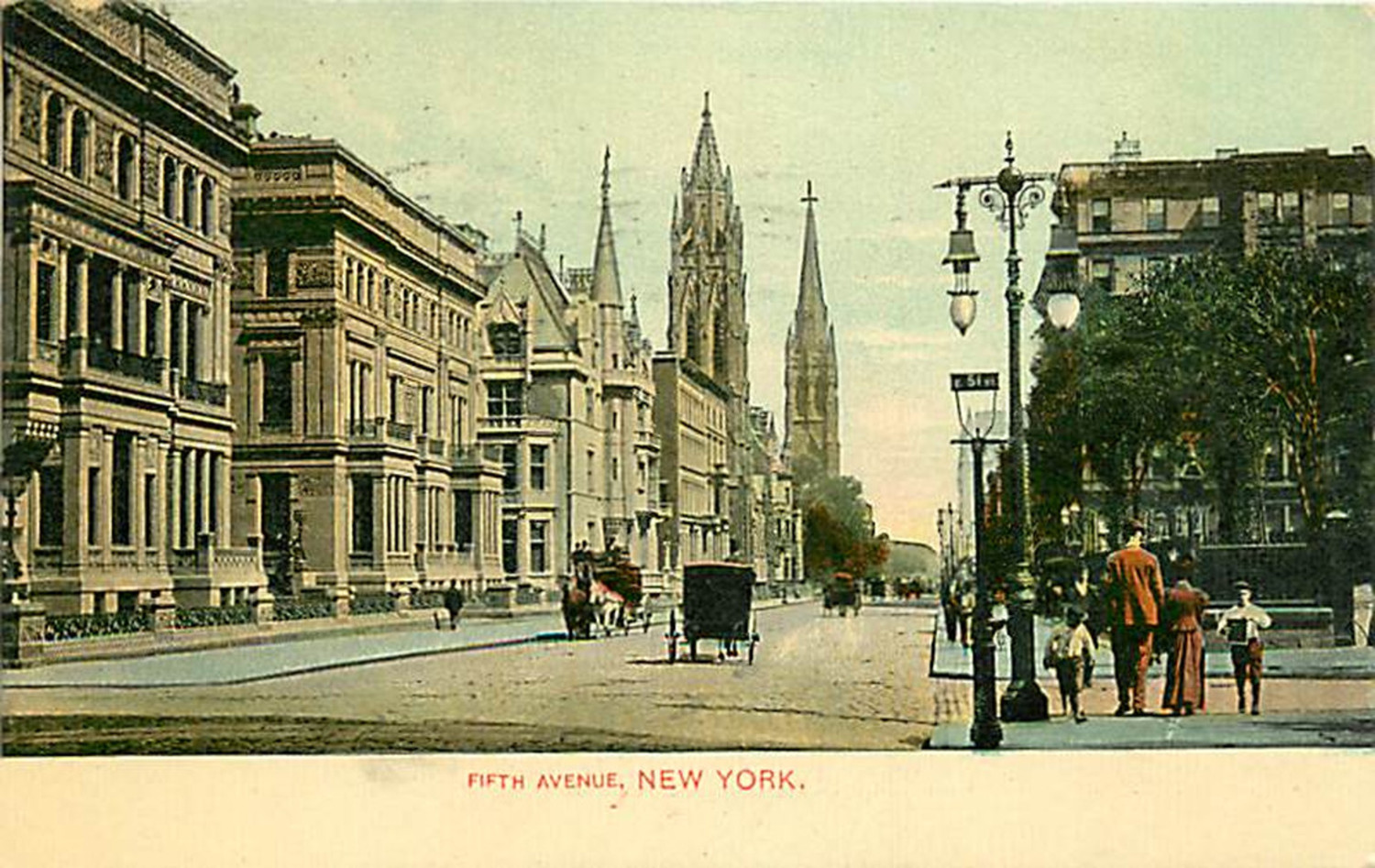 Fifth Avenue looking north from 51st Street around 1900. A newsboy stands on the corner as a couple passes by on a mostly deserted thoroughfare. The triple palaces of the Vanderbilt's stand between 51st and 52nd Streets and the northwest corner of 52nd Street. The first two mansions were  given to his daughters by William Henry Vanderbilt, the third on 52nd Street was the home of William K. Vanderbilt. By 1945 all three mansions were gone; victims of changing tastes, expenses, and the rising value of real estate. The churches in the background are St. Thomas Episcopal Church and the Fifth Avenue Presbyterian Church.