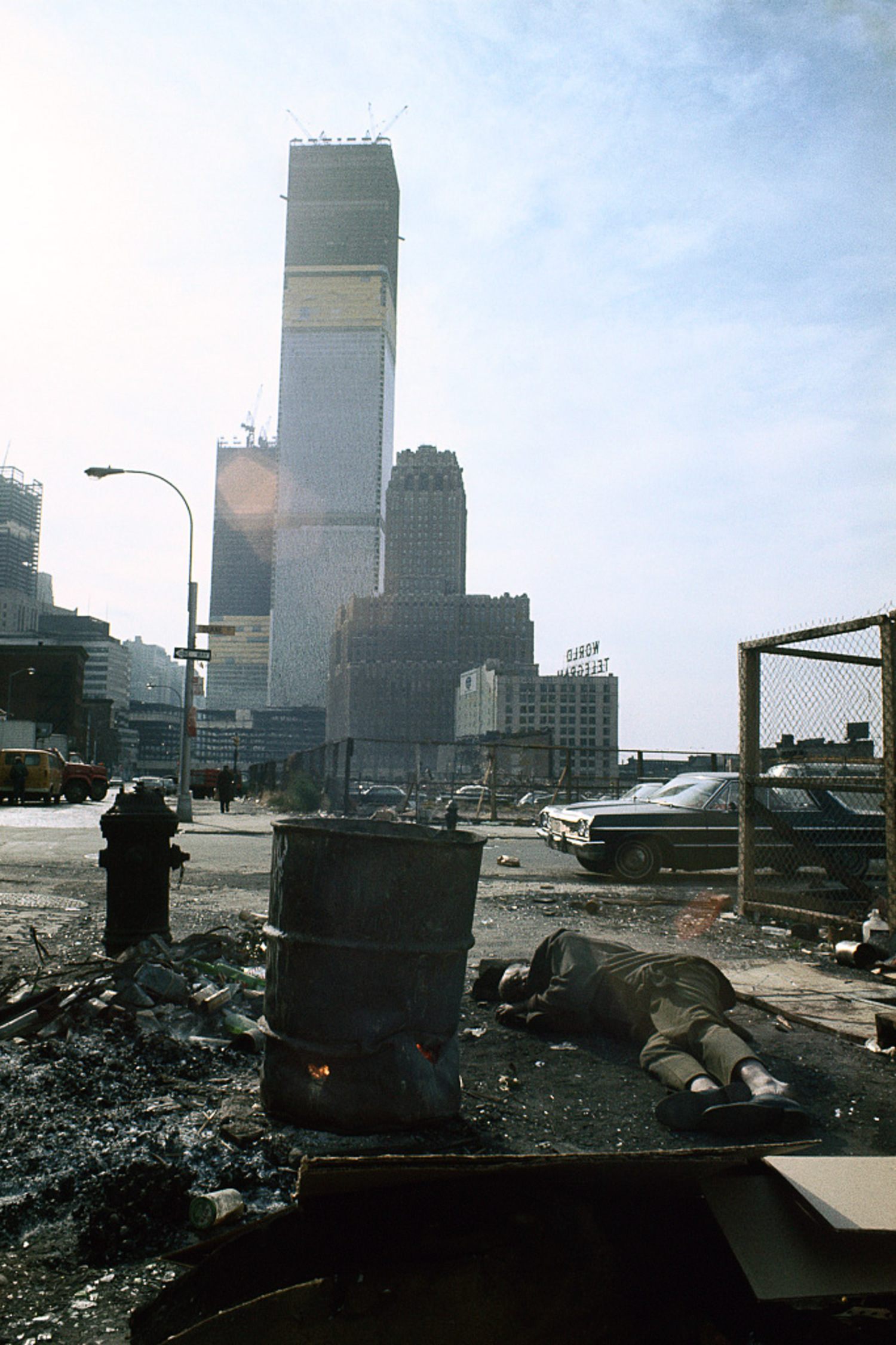 1970 View of the World Trade Center under construction from Duane Street.