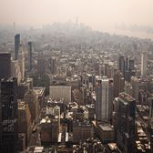 Lower Manhattan blanketed in haze and smoke from Western United States wildfires