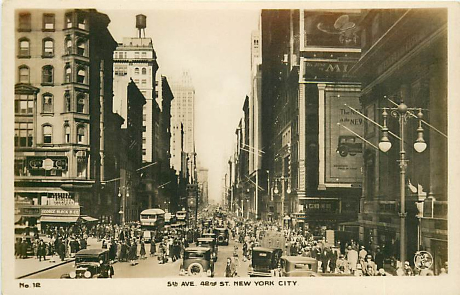 From about 1927 this view of Fifth Avenue looking north from 41st Street shows a bustling metropolis. A traffic signal tower is set up at the intersection of 42nd and Fifth. On the west side (left) is the former Hotel Bristol, converted to the Bristol Building in 1903. It was demolished in 1929 to make way for the art deco skyscraper, 500 Fifth Avenue.