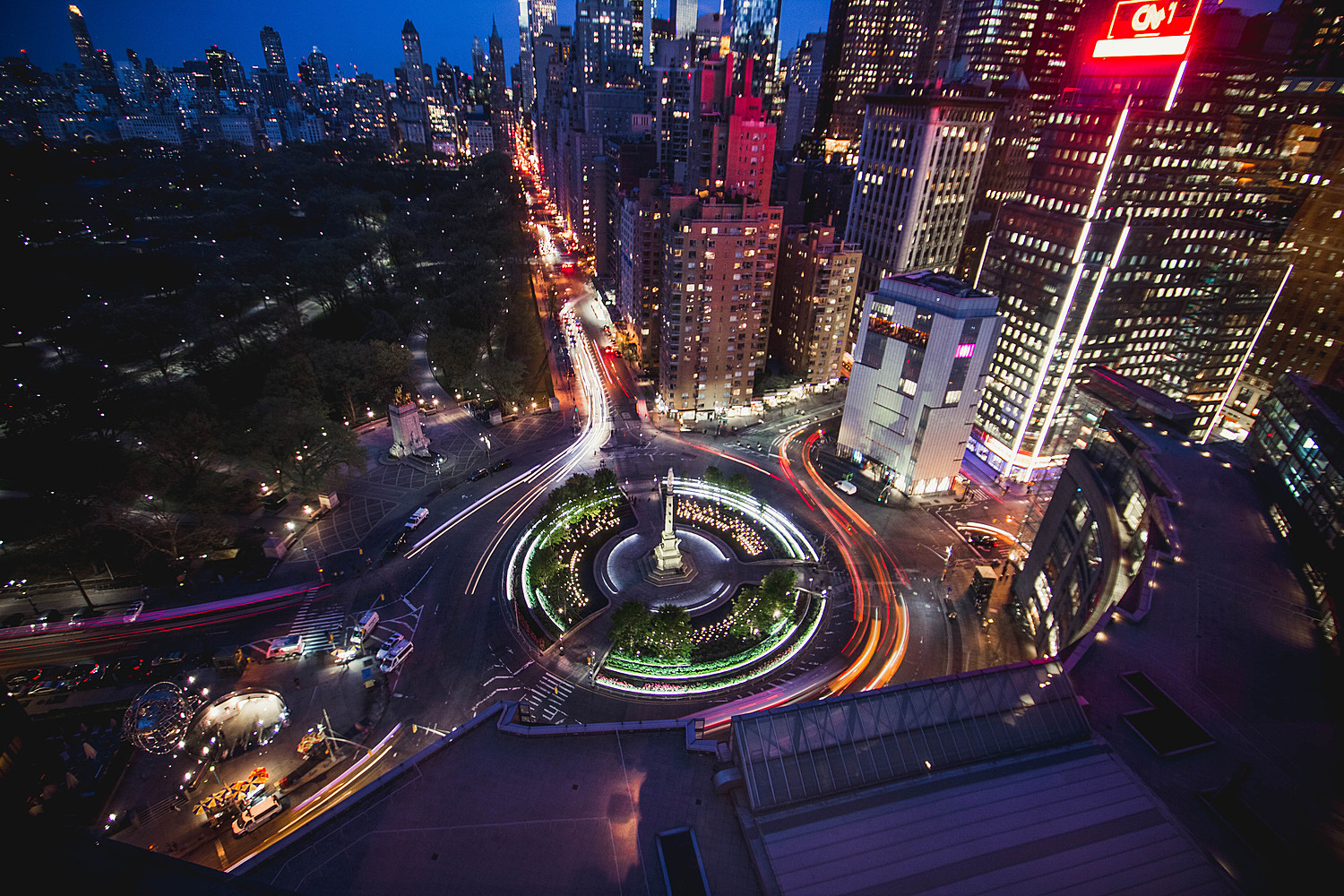 Columbus circle is a mecca for culture in New York City. It lies at the intersection of central park, huge midtown office buildings, and Lincoln Center. It also makes for some great photographs.