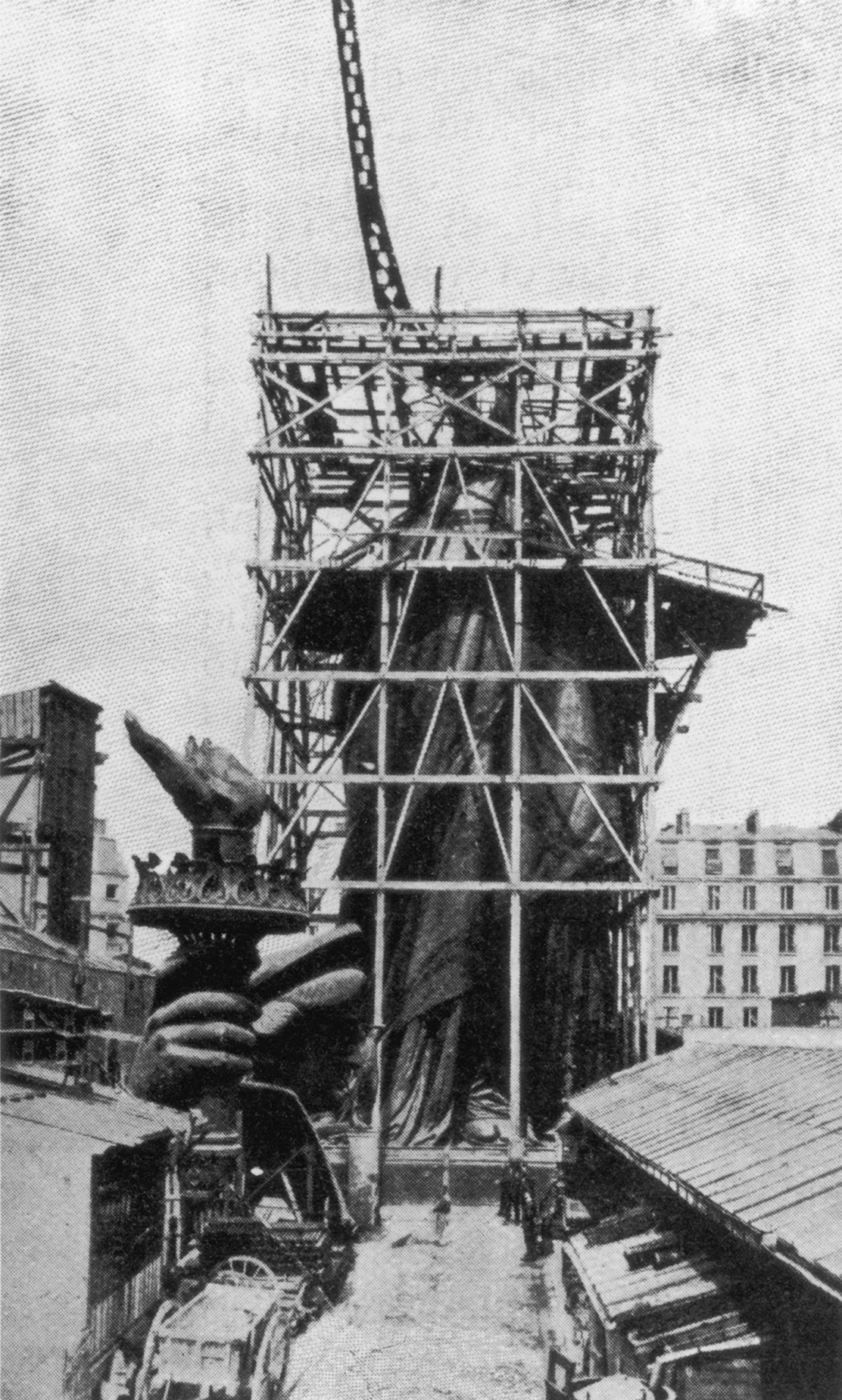 The framework for the right arm of the Statue Of Liberty during construction in Paris, circa 1885.