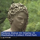 Medusa Statue On Display At Manhattan's Collect Pond Park