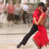 Tango Dancers | Two Tango dancers in action on the street during the Feria of August in Malaga (SPA). Formerly erroneously known as Flamenco Dancers.