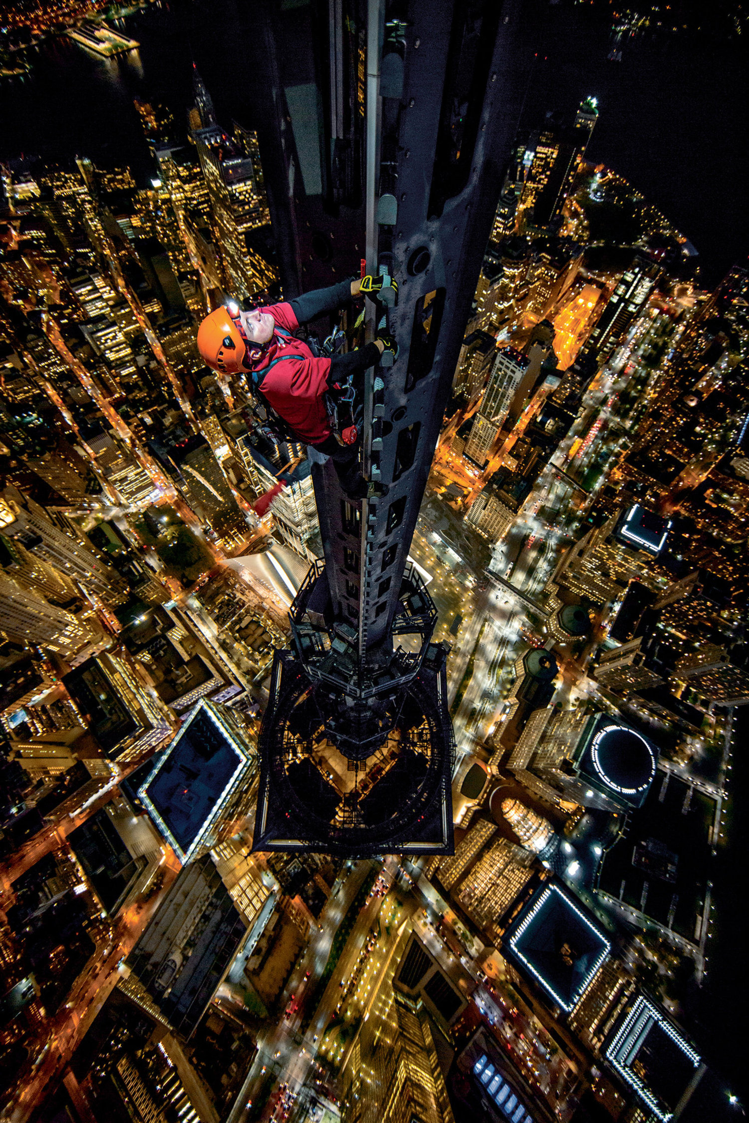 Jamison Walsh on the spire of 1 World Trade Center.