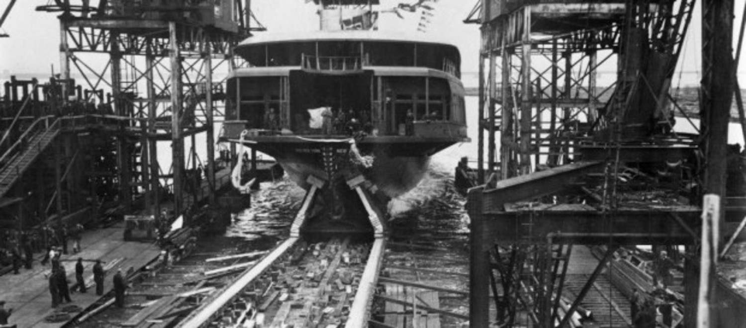 The launching of the ferry boat Miss New York, circa 1938.