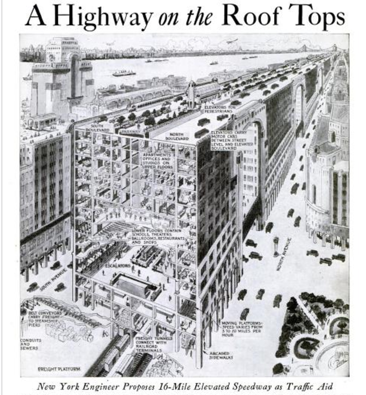 The 1920s Plan To Run A Highway Over Manhattan Rooftops