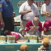 Stiff Competition At Nathan's Hot Dog Eating Contest