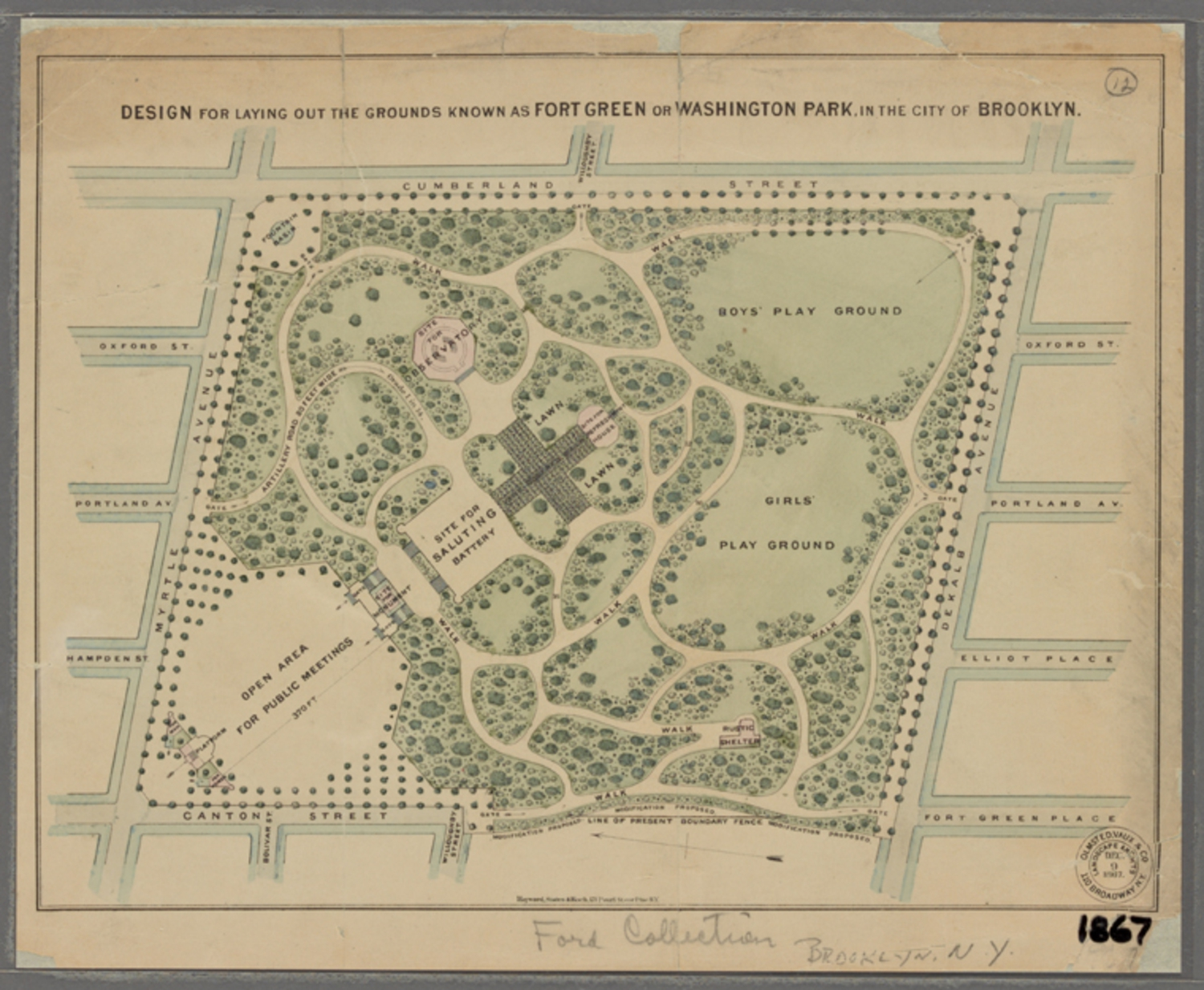 Design for Laying out the Grounds Known as Fort Green or Washington Park, in the City of Brooklyn (1867)
