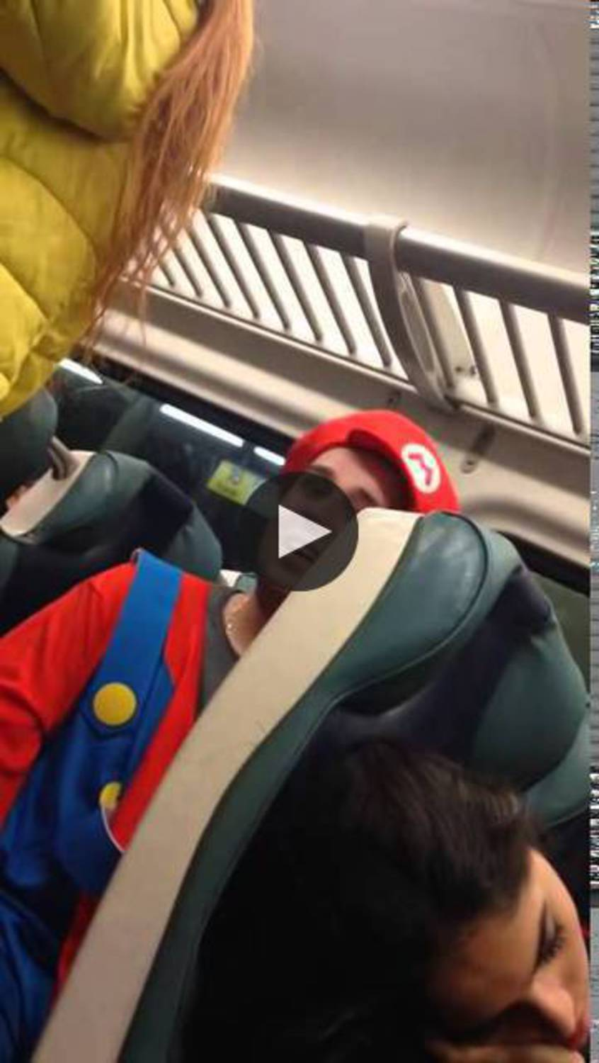 Juice Head Bully who Picks on Super Mario Gets Donkey Kong'd on NYC Train