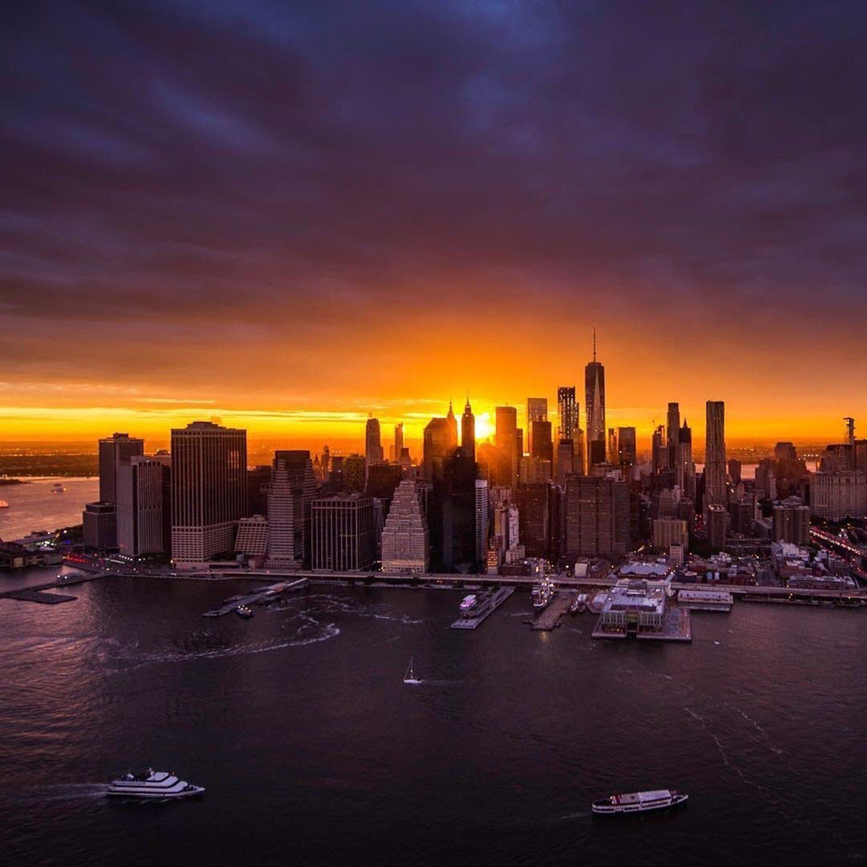Sunset over New York City.