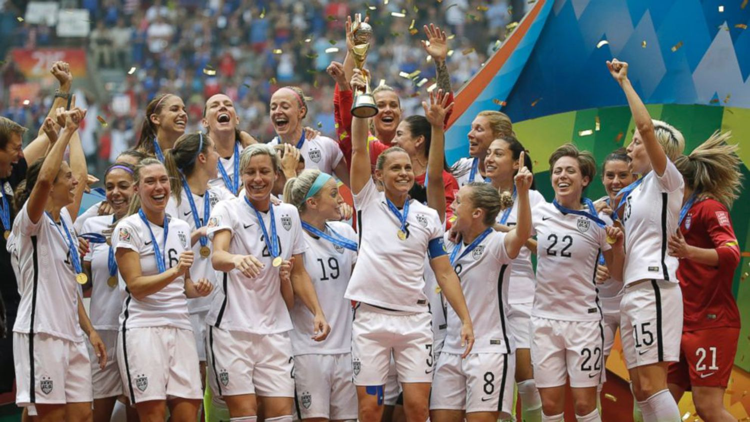 The United States Women's National Team celebrates with the trophy after they beat Japan in the FIFA Women's World Cup soccer championship, July 5, 2015, in Vancouver, Canada.