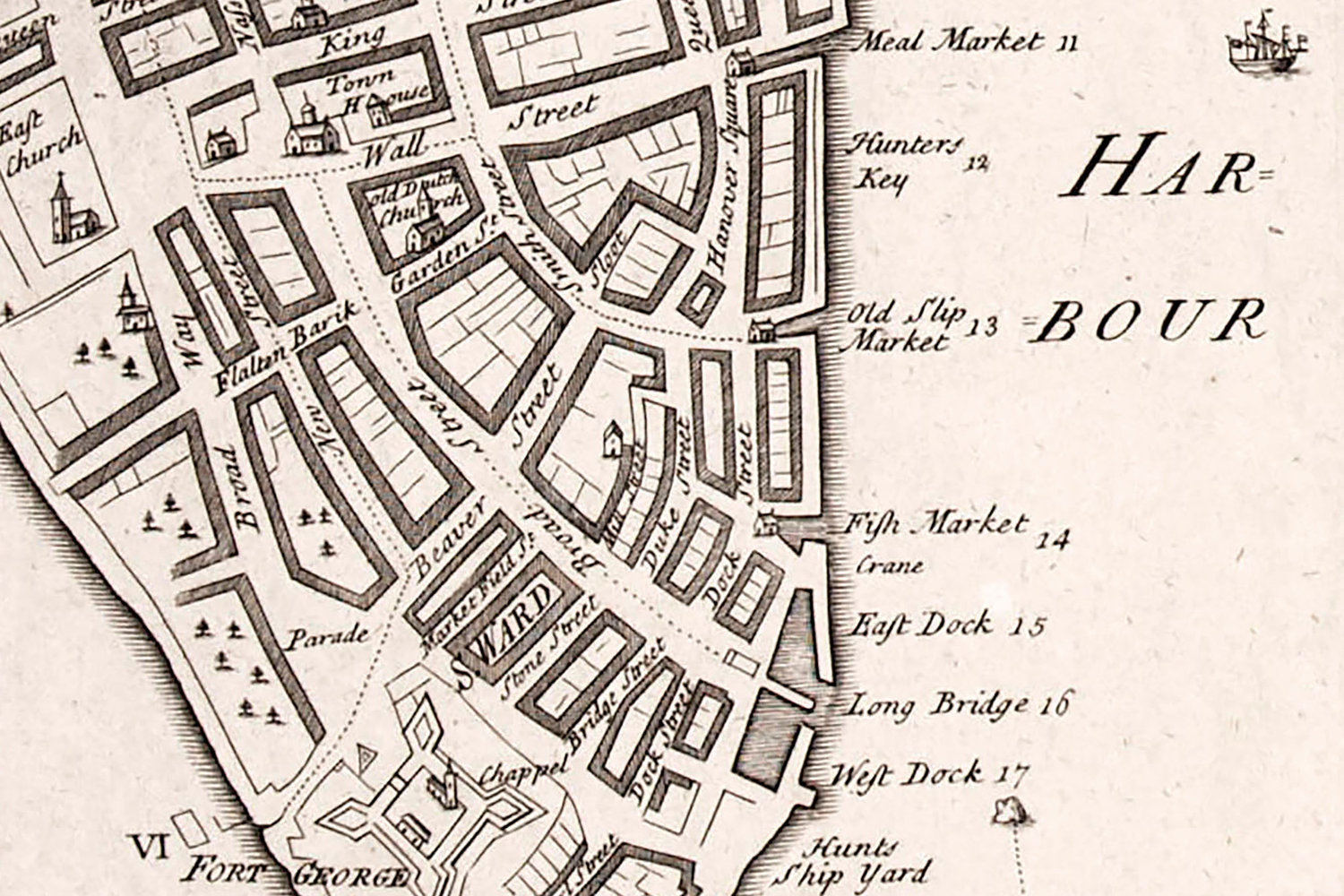 a detail of the carwitham plan showing lower manhattan the first synagogue consecrated in north