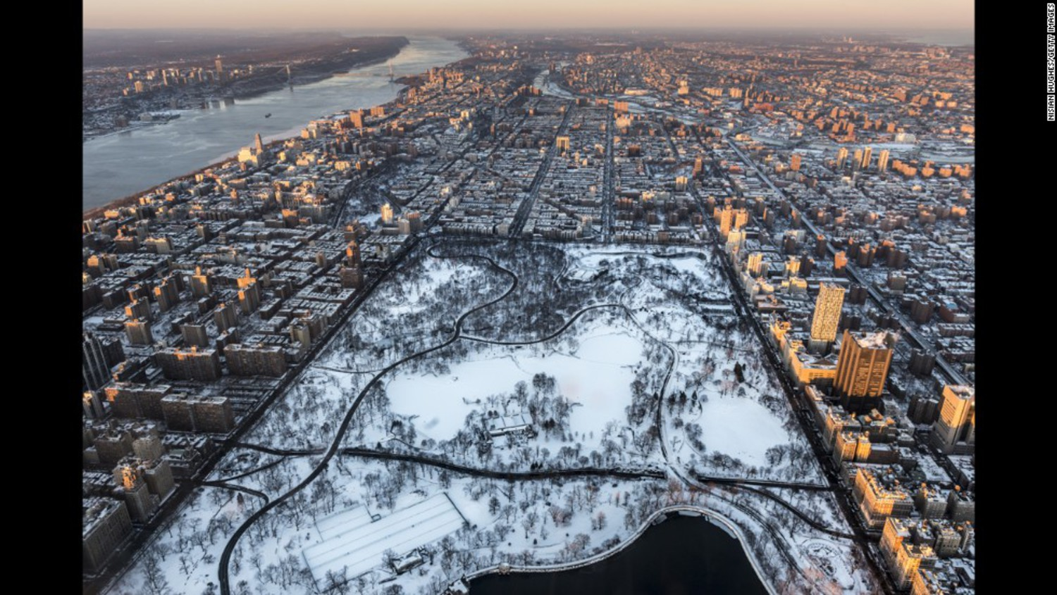 New York's Central Park is covered in snow in January.