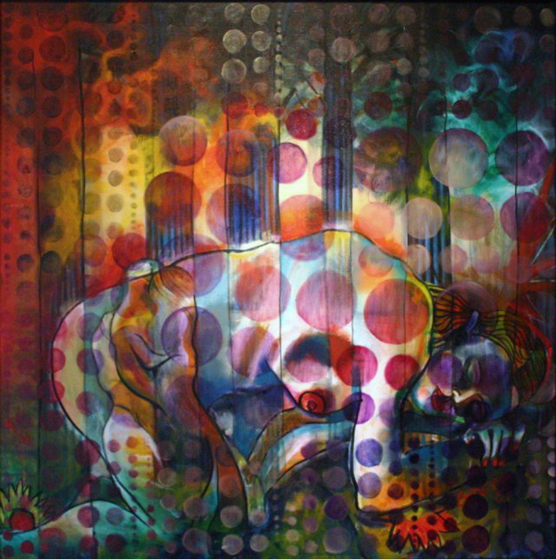The Kiss (Woods & Sea) by Gideon Cohn, Oil on Canvas, 30x30