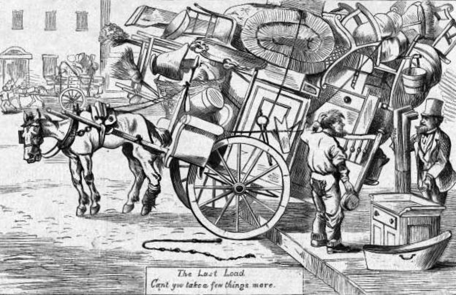 """Can't you take a few things more?"" A cartoon from Harper's Weekly, 1869. Image: public domain."