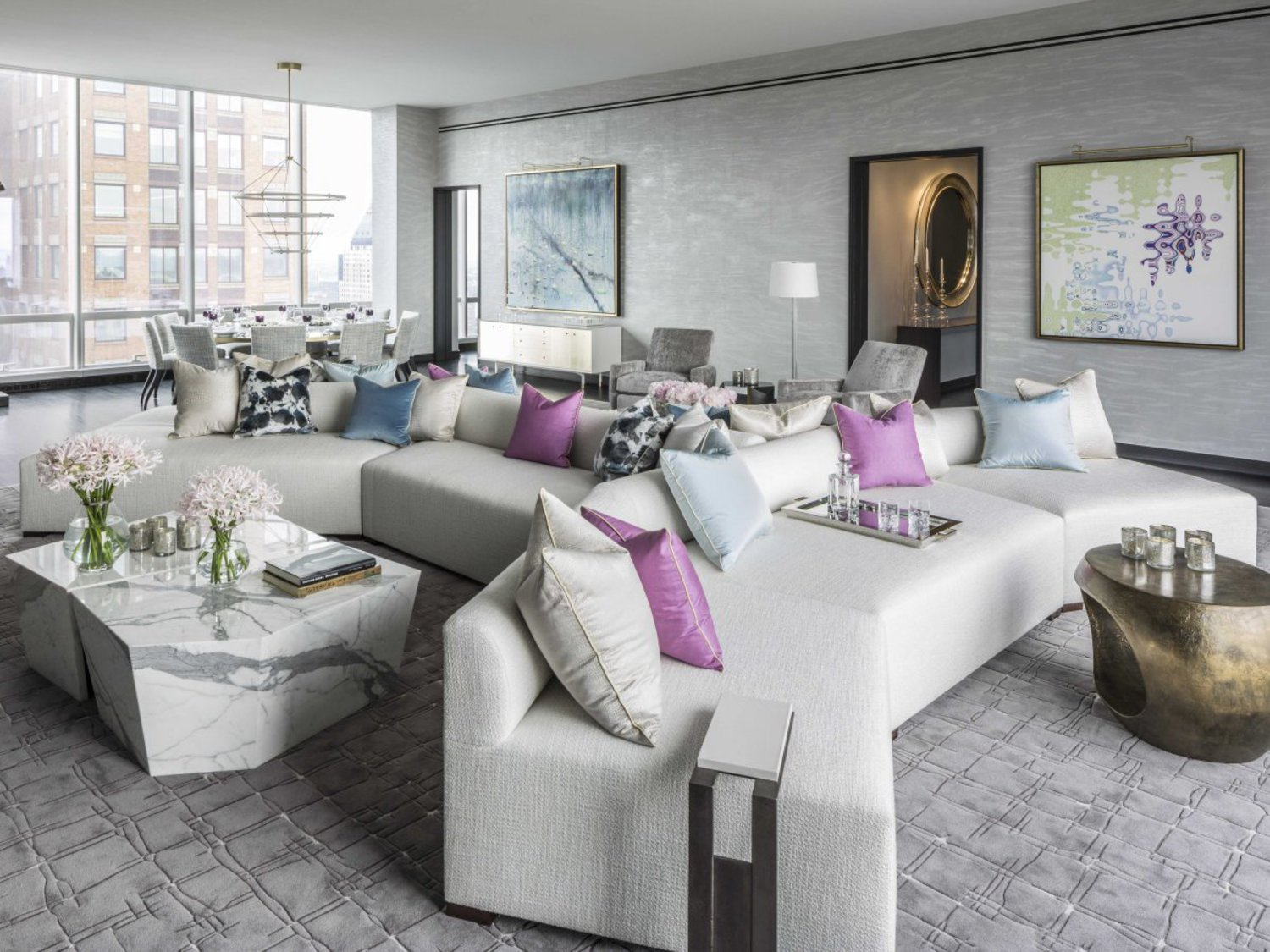 The so-called grand salon runs the length of the apartment and has nearly 12-foot-tall ceilings.